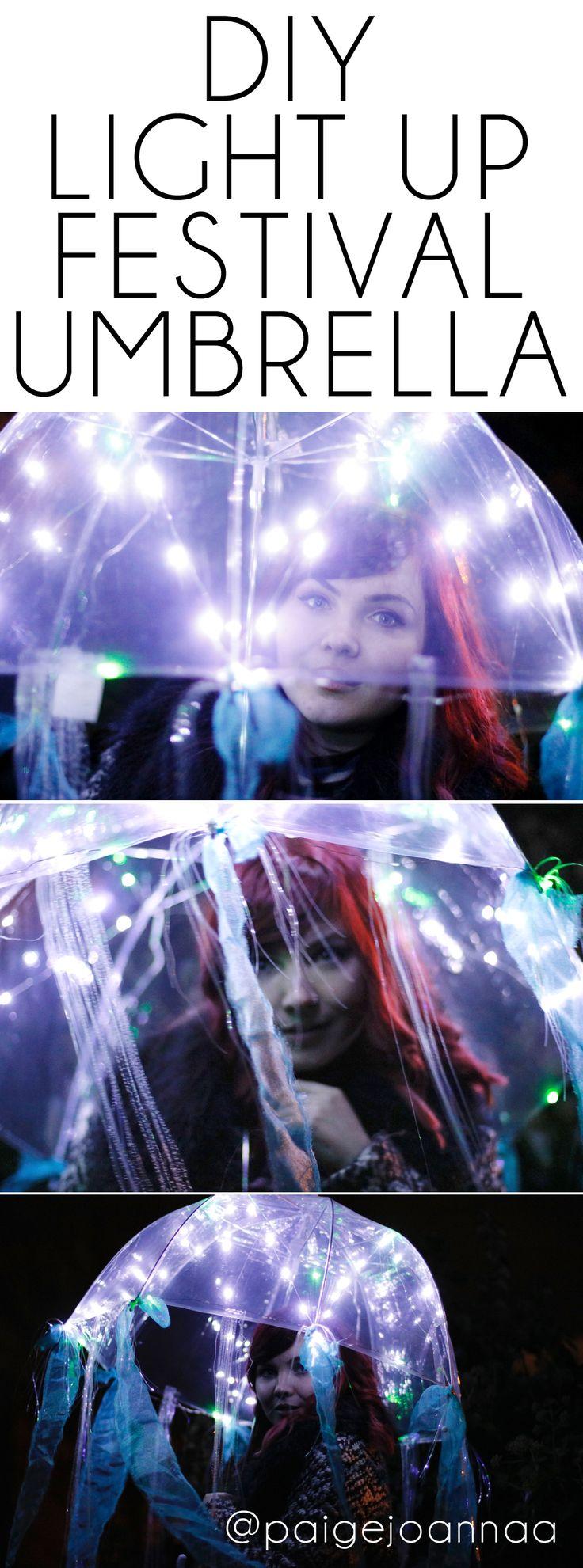 Paige Joanna DIY Light Up Jellyfish Festival Umbrella #festivalfashion #festival #coachella