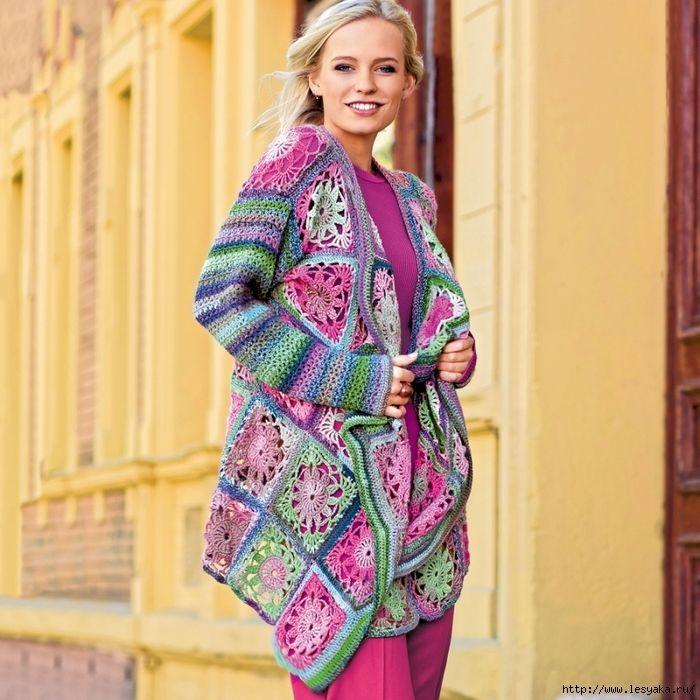 crochelinhasagulhas: Cardigan colorido em crochê