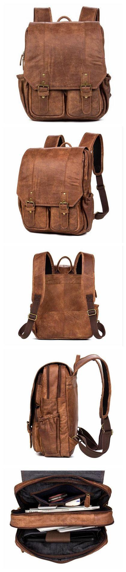 ROCKCOW Handmade Genuine Leather Travel Backpack, Shoulder Backpack, School Backpack B078