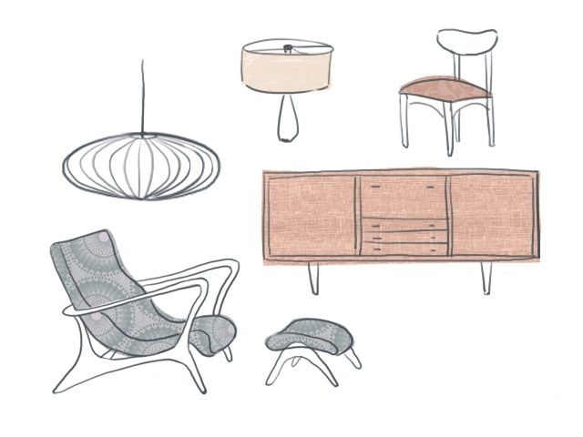 Mid century furniture illustrations