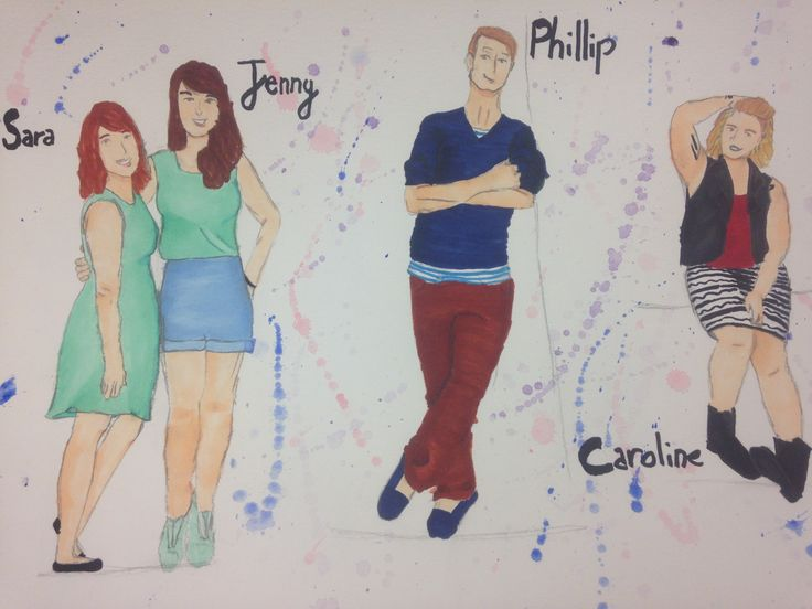Sara, Jenny, Phillip, and Caroline Rendering from Elly Hunt's costume design of Theory of Relativity