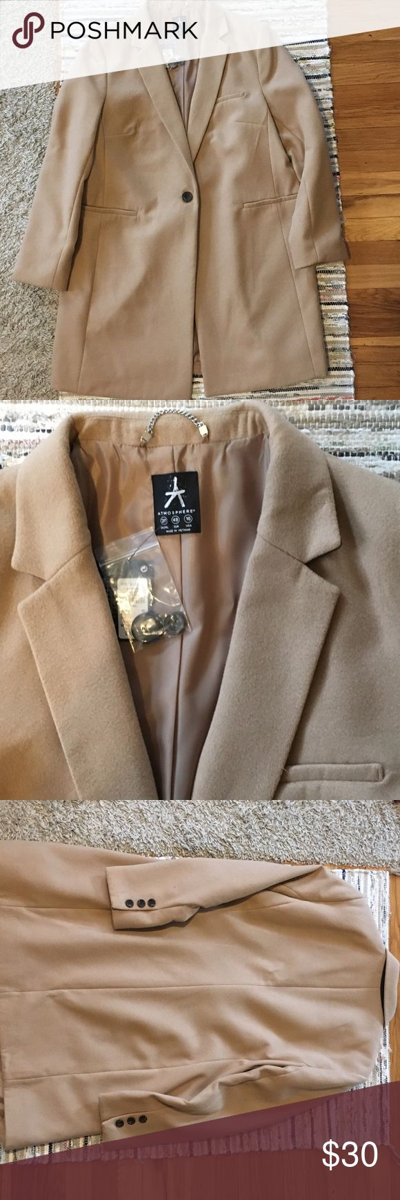Camel long jacket Never worn jacket, beautiful, does not look cheap, one button. Nice camel color. primark Jackets & Coats