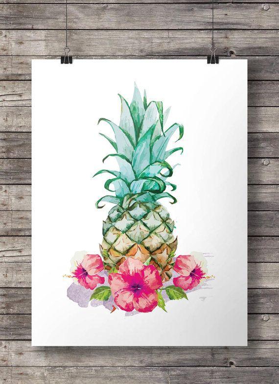 Hibiskus Aquarell Ananas - Printable Wandkunst - Download sofort Digitaldruck