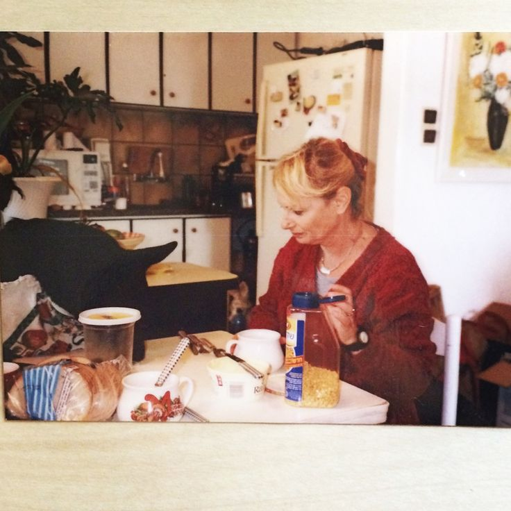 My mom, Georgeta Pavel & Tina, one of her beloved dogs. Brunch in our old apartment in Akko. February 1999.