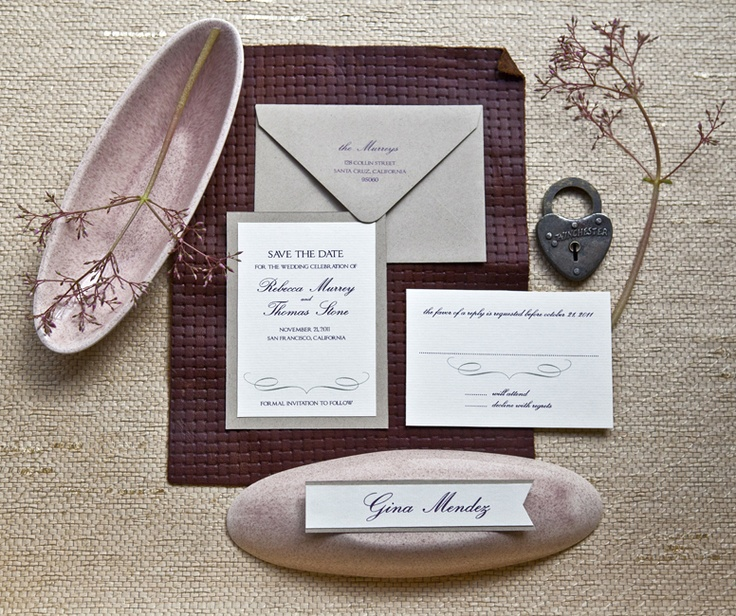 in colors of tan, taupe, and burgundy, a fall inspired set of wedding invitations from Farouche