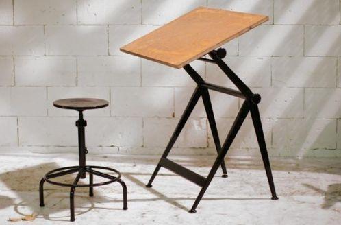 Retro Vintage Friso Kramer - Wim Rietveld tekentafel + kruk