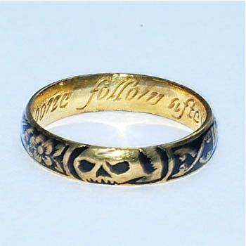 """Circa 1700, this high-karat gold skeletal band ring is an example of """"Memento Mori"""" jewelry, which dates to the 16th through the 18th centuries. It was intended to remind the wearer of his or her mortality (memento mori translates to """"remember you must die""""), and of the fleeting nature of time."""