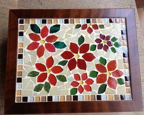 Caixa De Chá em mosaico Flores Vermelhas