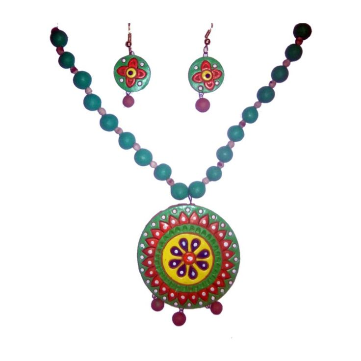 Clay Jewelry from Krishnanagar Handicraft Product New Design Stylish - Round Shaped Burnt Clay - Water-proof colour