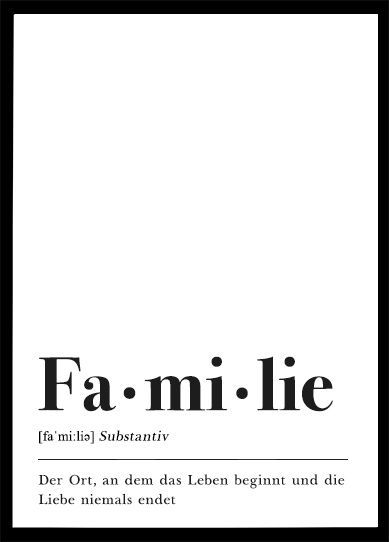 Familie Definition Poster Plakat Download Schrift Design Skandinavisch Poster Minimal Schwarz Weiß Lettering Zuhause Geschenk zuhause Print