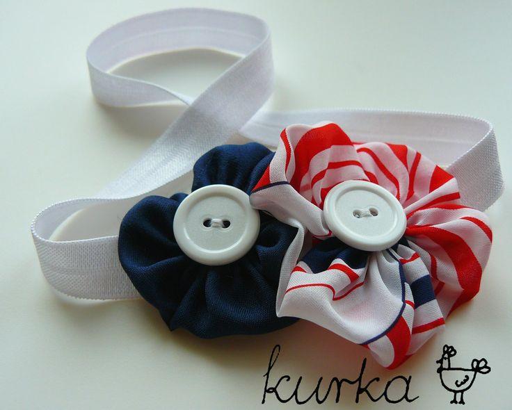 opaska handmade by kurka - marynarskie kwiaty