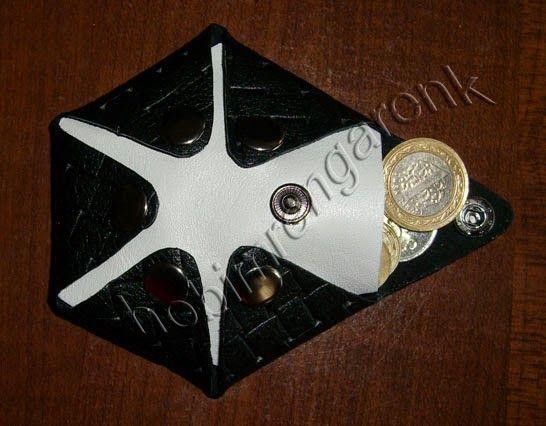origami hexagonal leather wallet