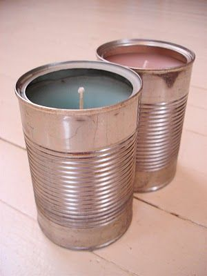 Soup Can Candle Upcycle -- deviled ham cans for a tealight effect, tomato paste cans for a smaller candle, tuna cans to replace sterno in a camp stove...fill it part-way with wax and punch holes in the top portion of the can for a lantern...All around love this. but I suspect I'll want to use pliers or oven mitts to move them once they've been burning for a bit.