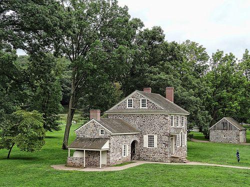 Fieldstone farm house that George Washington rented for his headquarters at Valley Forge, the site of the military camp of the Continental Army over the winter of 1777–1778 during the American Revolutionary War. Seen in Valley Forge National Historical Park in Pennsylvania.