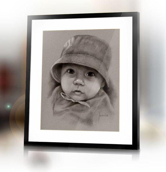 Custom baby boy dry brush portrait in handmade from photo by Jacek Jaskowiak PortraitsBuy
