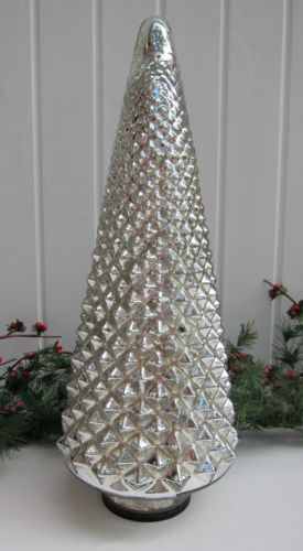 Silver mercury glass luminated light up christmas tree