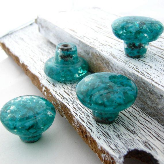Teal Art Glass Knob Pulls Kitchen Cabinet Hardware