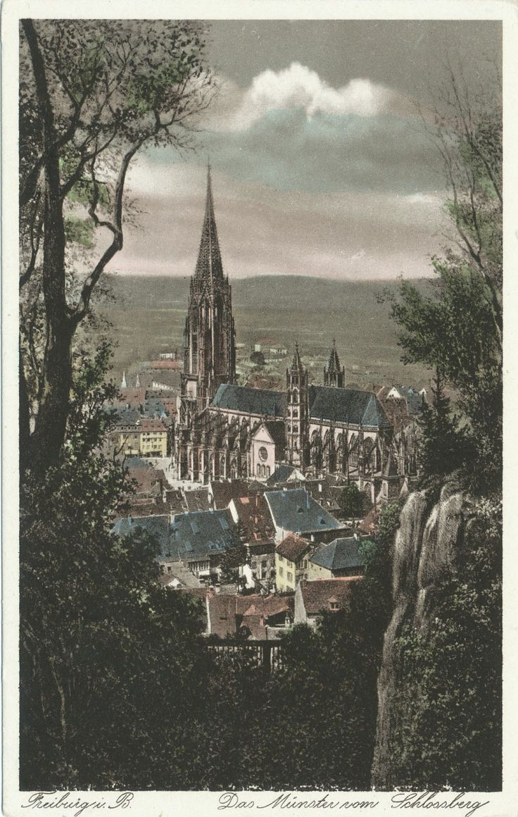 Das Freiburger Münster vom Schlossberg - Interessant colorierte Postkarte des Freiburger Münster aus einer Perspektive vom Schlossberg. Datierung leider unbekannt.   Vielen Dank für dieses Bild an unseren Facebook-Fan Kirsten Kiki Schüler /*  */