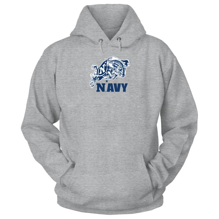 """Navy Football Mascot Shirt and Apparel T-Shirt, _Order your officially licensed Navy Football Mascot shirts and Apparel. _ The US Navy football team is highlighted during the 3rd season of the popular Showtime show """"A Season with Navy Football""""  The popular show that follows a NCAA football team through their season.  Follow the hashtag... The Navy Midshipmen Collection, OFFICIAL MERCHANDISE  Available Products:          Gildan Unisex Pullover Hoodie - $49.95 Gildan Long-Sleeve T-Shirt…"""