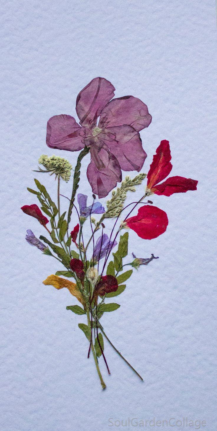 Greeting card Handmade OOAK Pressed flowers art Oshibana by SoulGardenCollage on Etsy