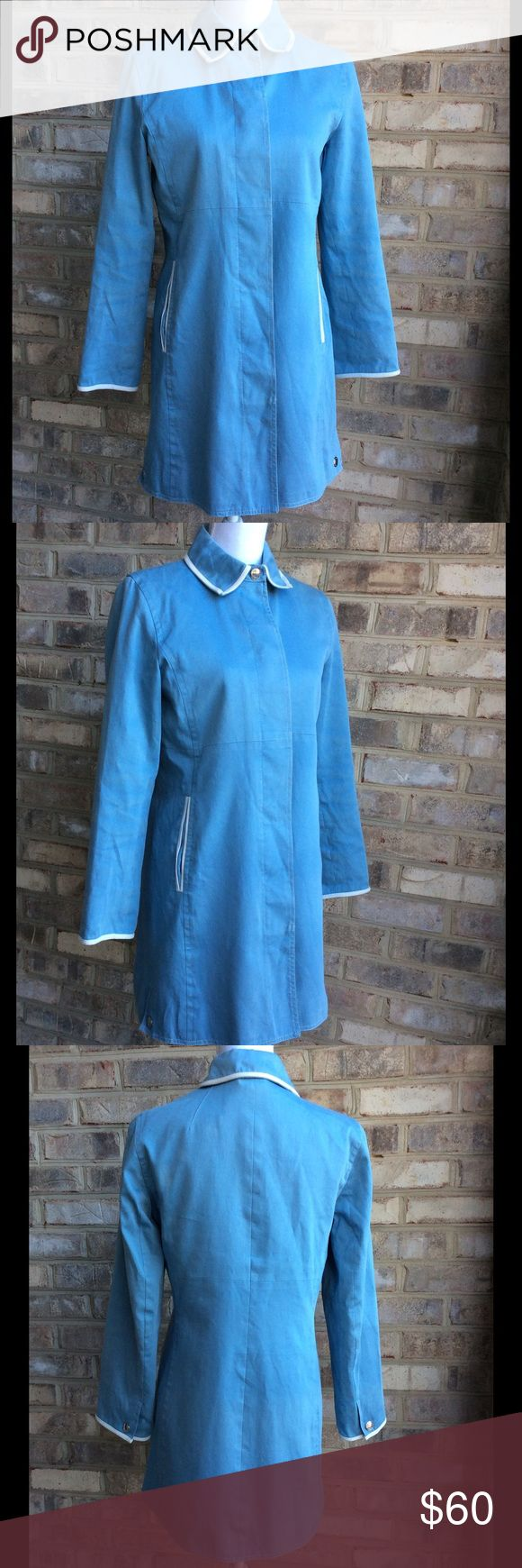 Coach - Baby blue raincoat - sz 8 Good used condition. The only sign of wear is slight discoloration in the sleeves and in the back. Nothing that jumps at you. Underarm to underarm is 19, top to bottom is 33. Coach Jackets & Coats Trench Coats