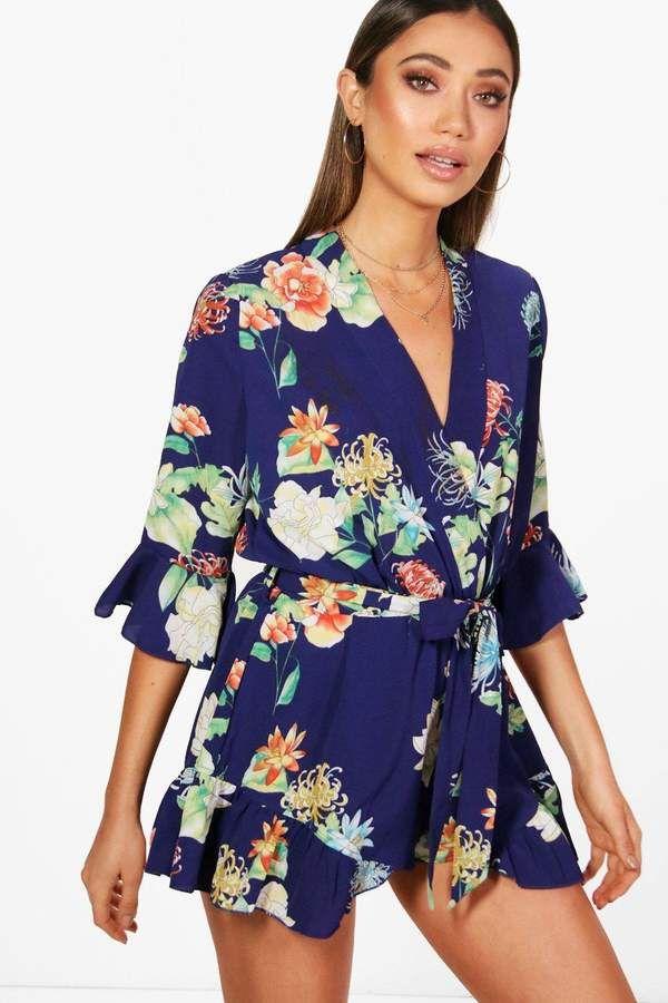 HTOOHTOOH Womens Floral Summer Boho Deep V-Neck Short-Sleeve Romper Jumpsuit Playsuit