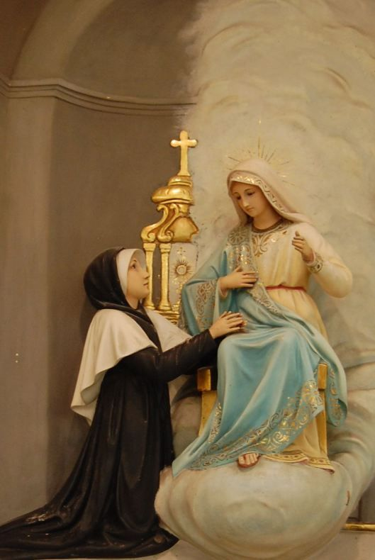 In 1830, the Blessed Mother appeared to St. Catherine Laboure.