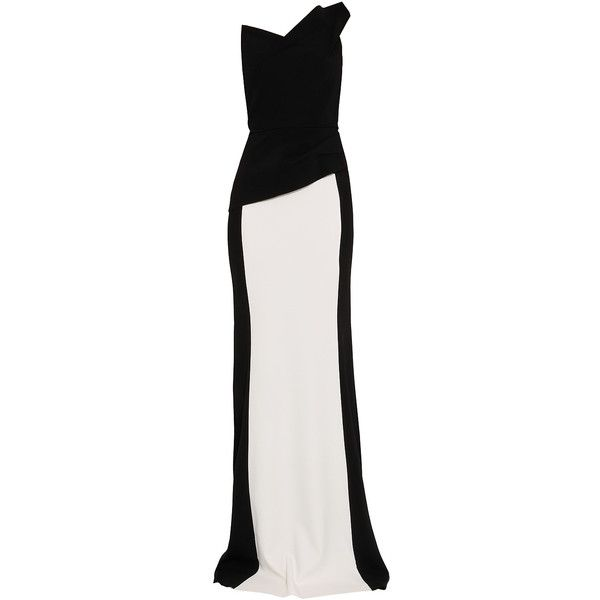 ROLAND MOURET Exclusive One-Shoulder Stretch Crepe Gown ($3,053) ❤ liked on Polyvore featuring dresses, gowns, long dresses, vestidos, abiti, one shoulder dress, white and black dress, peplum evening gowns and peplum gown