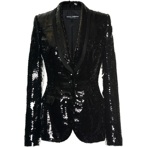 Dolce & Gabbana     Paillette Evening Blazer ($4,995) ❤ liked on Polyvore featuring outerwear, jackets, blazers, black, dolce gabbana blazer, evening jackets, holiday blazer, dolce gabbana jacket and special occasion jackets