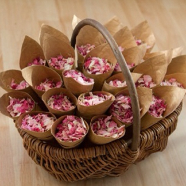 Love this Idea... Dried rose peddles, paper cones.. Beautiful Wedding confetti ....