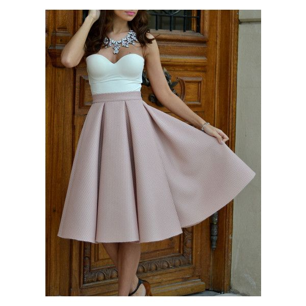 Champagne High Waist Pleated Flare Skirt ($22) ❤ liked on Polyvore featuring skirts, high-waist skirt, high waisted skirts, high waisted flared skirts, off white skirt and high-waisted skirts