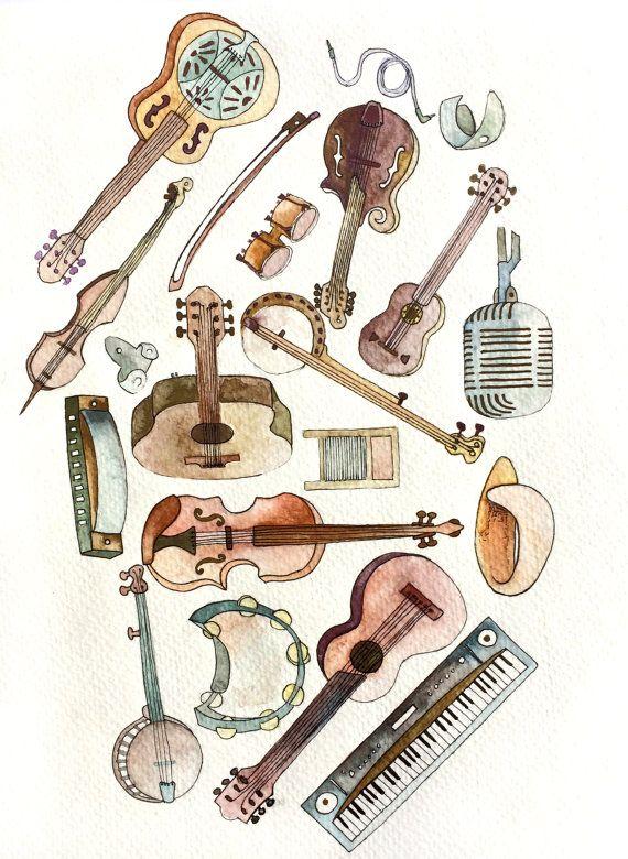 Folk Instruments Illustration Music Art Print by Erin Schuetz on Etsy