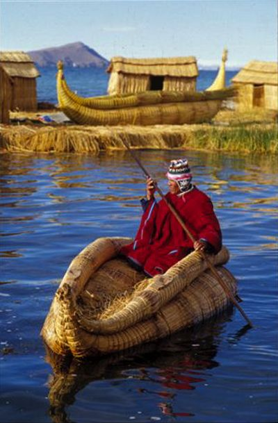 ✮ Lake Titicaca in Bolivia. Lake Titicaca is located on the border of Bolivia and Peru high in the Andes. It sits 12,500 ft above sea level, making it one of the highest lakes in the world.