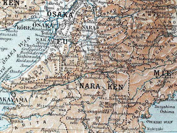 1915.JAPÓN.Mapa de la región de Kyoto Hondo Central-Lámina a