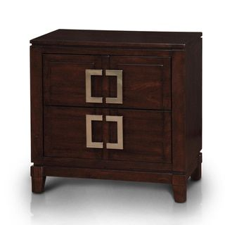 Furniture of America Sovena Brown Cherry 2-drawer Nightstand ...