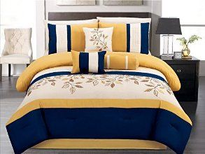 7 pieces luxury navy blue yellow off white embroidered - Yellow and blue bedding queen ...
