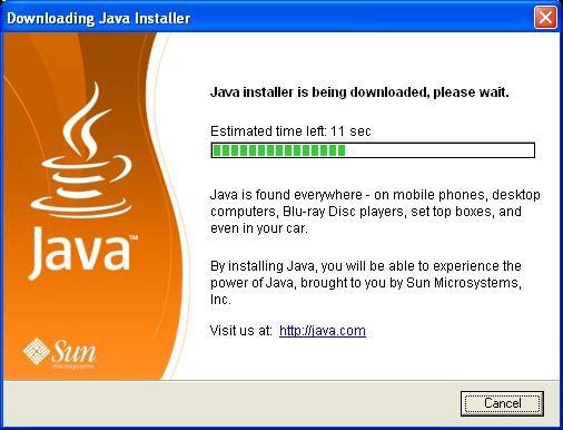 A Java telepítő letöltése ablak - magától eltűnik