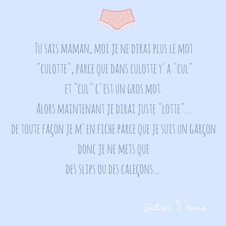 Mot de culotte. #kidsquote #enfant #cute #slip #culotte // www.monpolochon.com