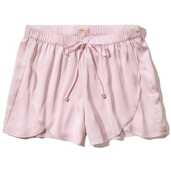 Hollister Satin Shorts ($15) ❤ liked on Polyvore featuring shorts, light pink, drawstring shorts, light pink shorts, drapey shorts, hollister co. shorts and draw string shorts