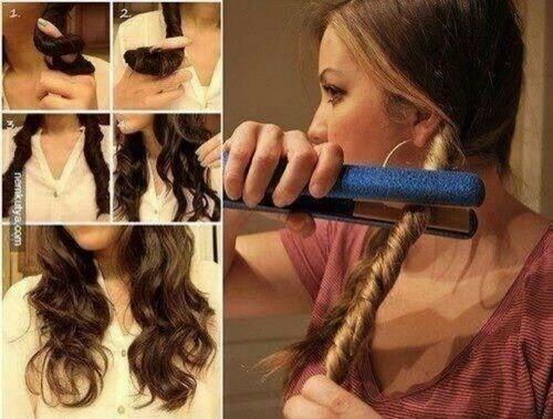 Zo maak je krullen met een stijltang. Je twist je haar en houdt je stijltang er op.