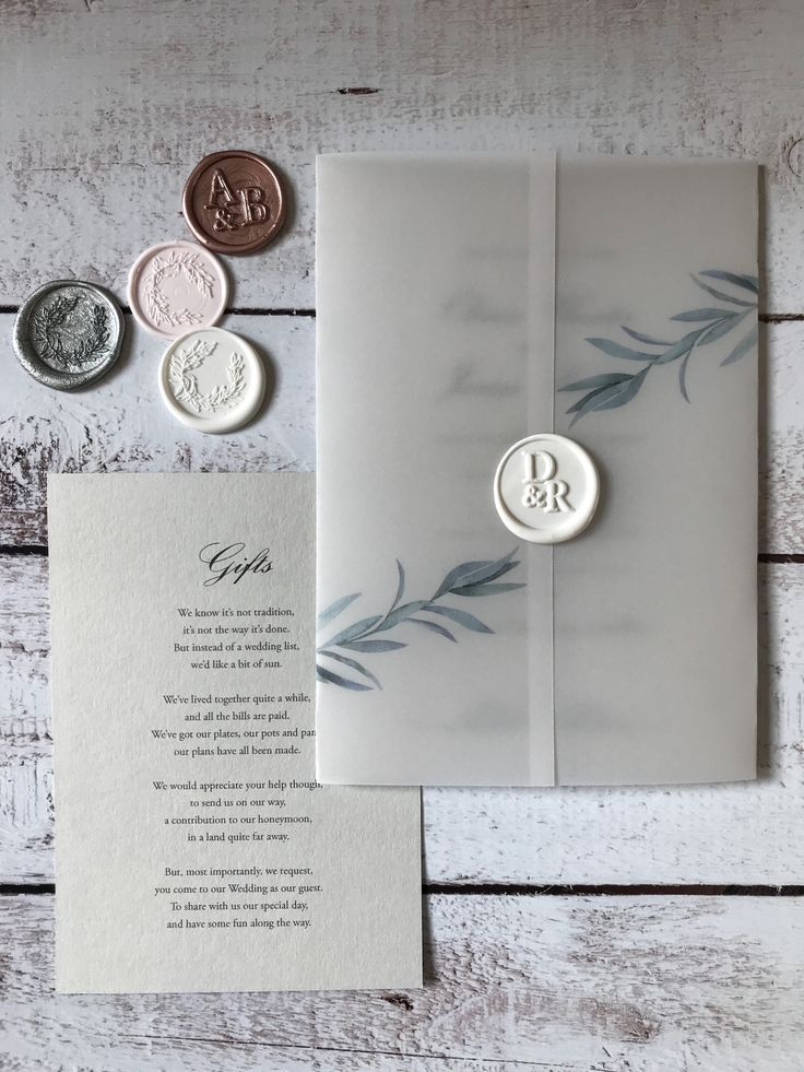 Delicate Rosemary Vellum Wrap Wedding Invitation Set On Pale Gray Card With A W Cheap Wedding Invitations Wedding Invitation Sets Wedding Stationery
