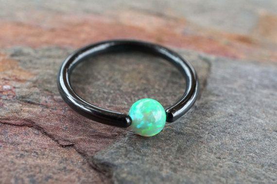 Black CBR Hoop with Peridot Green Opal Cartilage by MidnightsMojo