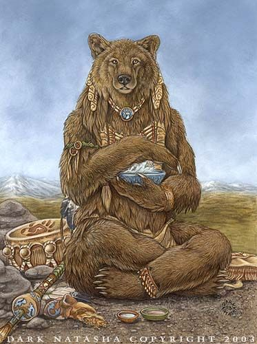 """The primary meaning of the bear spirit animalis strength and confidence Standing against adversity; taking action and leadership The spirit of the the bear indicates it's time for healing or using healing abilities to help self or others The bear medicine emphasizes the importance of solitude, quiet time, rest The spirit of the bear provides strong grounding forces """"Medicine Bear"""" by darknatasha.deviantart.com"""