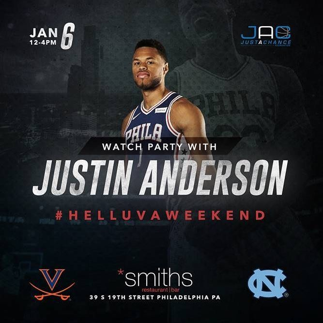 Tomorrow come out and watch #uva take on #unc with the #sixers Justin Anderson at Smiths Bar! Proceeds from drinks and raffle items (signed jersey game tickets and more!) will go towards the @justachancefoundation which benefits local middle school students in Philly! #uvaalumni #wahoos #helluvaweekend #philly #smithsbar