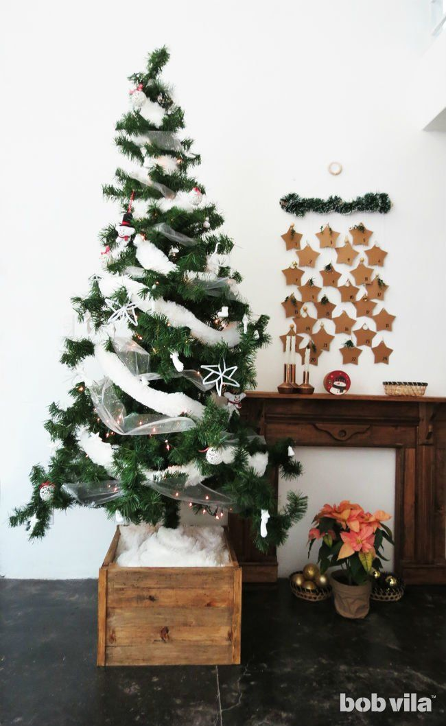 This Diy Christmas Tree Stand Makes Your Fake Fir Look Real And Taller Xmas Tree Stands Christmas Tree Stand Diy Creative Christmas Trees