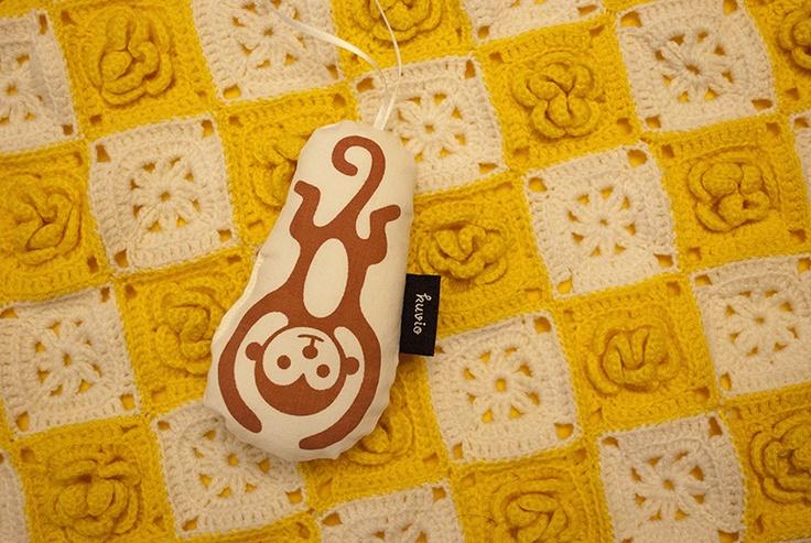 "Hand printed toy ""Kiki"". 100% organic cotton. http://www.kuviokioski.com"