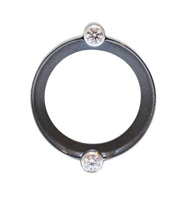 Rhodium plated sterling silver ring features two central crystals. #unusual #wedding #rings #London #Nude #Jewellery