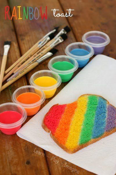 Rainbow toast is made with sweetened cond. milk and food coloring