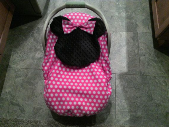 Minnie Mouse Infant Car Seat Baby Carrier Cover Two Layers Fleece Girls Pink Black Minky Baby