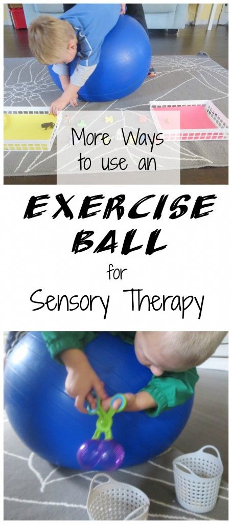 An Exercise Ball is great for kids with sensory processing disorder or SPD. These exercising challenge the vestibular system, strengthen the core, and make the child cross midline.